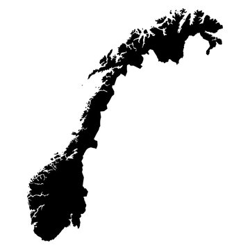 Norway black map on white background vector