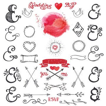 Doodle lettering ampersands. Watercolor Decor kit