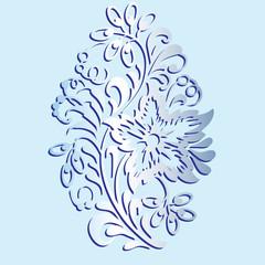 Flower pattern. Decorative design element isolated on blue background. Floral pattern. Vector illustration.