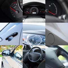 Car detail. Collage of different car details.