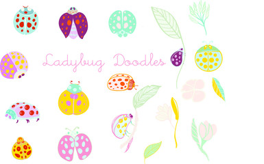 Colorful Ladybug hand drawn motifs vector file