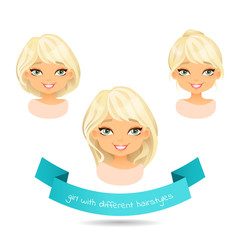Cute smiling blonde with different hairstyles.