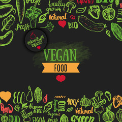 Hand drawn eco food poster with lettering for organic, bio, natural, vegan, food on dark background