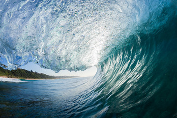 Wave Inside blue crashing ocean water tube