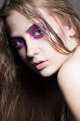 Very beautiful young girl with beautiful makeup.