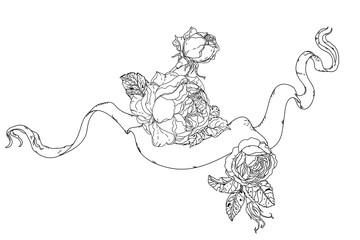 Hand drawing heraldic cartouche. Black and white. Flower mandala.
