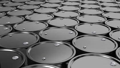 3D illustration of Black Metal Oil Barrels Background.
