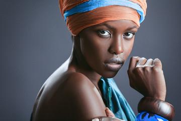 Fashion-portrait of the beautiful black woman.