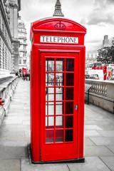 Fotorolgordijn Rood, zwart, wit London telefonzelle