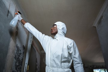 Man doing pest control on a wall