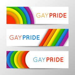 Set of modern colorful horizontal banners for Pride Month. Vector illustration in LGBT colors. Gay culture symbol, rainbow text. Gay Pride. Can be used in a web design.