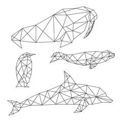 Set of geometric animals isolated on white background vintage design element