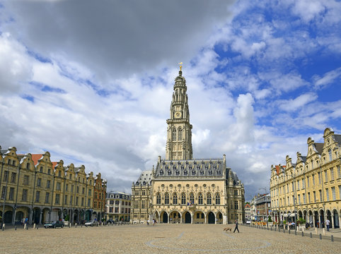 Town hall in Arras. Town hall with a tower that belongs to the set of belfries of Belgium and France - UNESCO World Heritage Site. Artois region