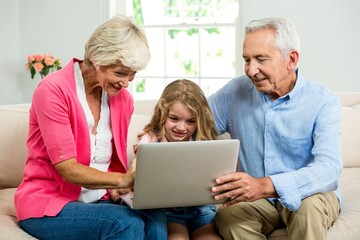 Smiling grandparents and girl using laptop