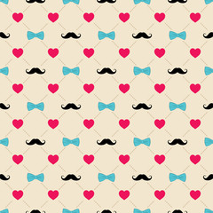 happy father's day greeting design, bow, mustache and heart shape pattern background vector