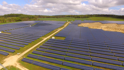 aerial view Solar panels Photovoltaic system