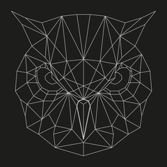 Owl head geometric lines silhouette isolated on black background vintage design element