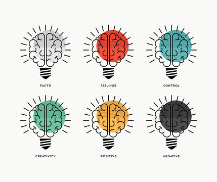 Six thinking hats human brain concept design