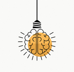 Human brain idea concept in modern line art style