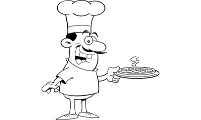 Black and white illustration of a chef holding a pizza.