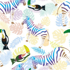 Zebra and toucan on the background of tropical leaves and pineapple. Vector, pattern
