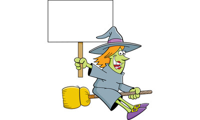 Cartoon illustration of a witch on a broom holding a sign.