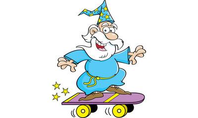 Cartoon illustration of a wizard riding a skateboard.