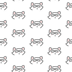 Racoon stylized line fun seamless pattern for kids and babies. Cute animal fabric design for textile linen and apparel in scandinavian simple style.