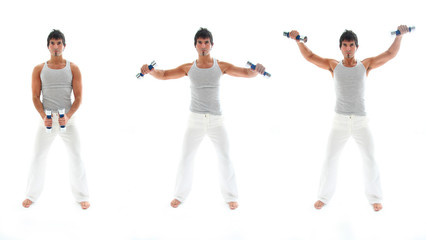 Man working out with dumbbells isolated on white