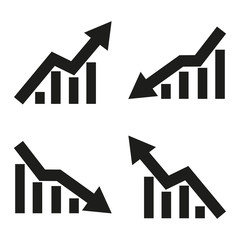 Set of icons of statistic arrow. Vector illustration