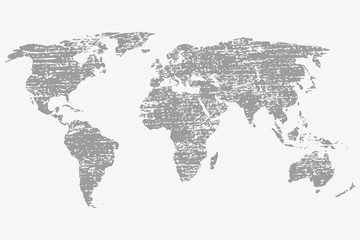 World map in grey on a white background with grunge