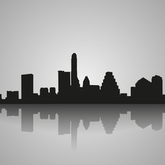 Austin black silhouette with reflection. City skyline