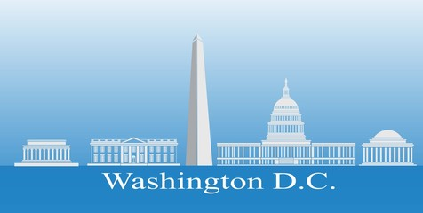 Washington DC iconic buildings, Washington DC, USA. Vector illustration.