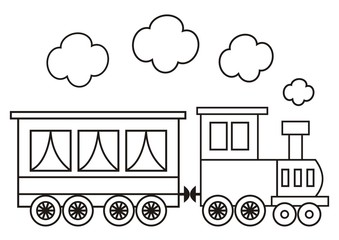 locomotive, coloring book