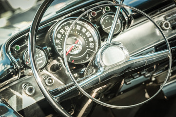 Wall Mural - retro styled 1950s vehicle dashboard and steering wheel