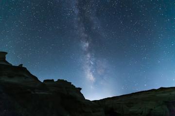 The Milky Way from Sarakiniko beach in Milos island in Greece.