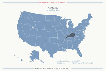 United States of America isolated map and Kentucky State territory. vector USA political map. geographic banner template