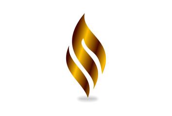 I N or M Vector logo design, 3D gold fire shape. Business, technology, nature, symbol.