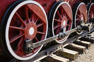 Fragment of an old steam locomotive running gear