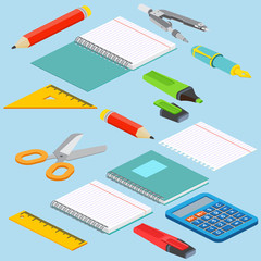 Isometric illustration on a blue background with the image ruler, calculator, markerpen, pencil, pen, pencil, scissors, pair of compasses and open notepad. Vector illustration.