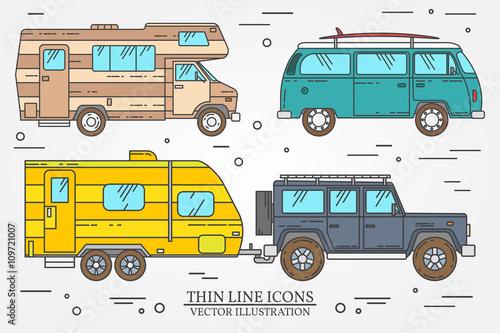 Set Of Tourist Bus SUV Trailer Jeep RV Camper Traveler