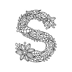 Letter S coloring book for adults vector