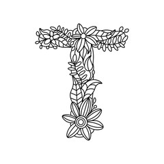 Letter T coloring book for adults vector