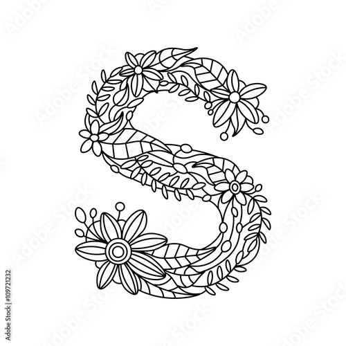 Letter S coloring book for adults vector Stock image and royalty
