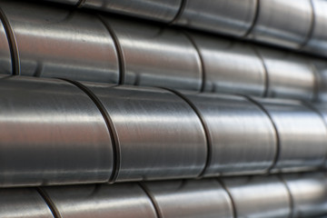 Ventilation metal pipes. Galvanized iron pipes.