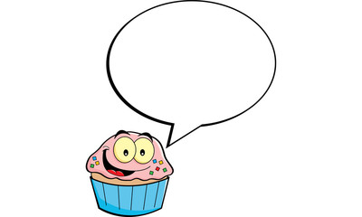 Cartoon illustration of a cupcake with a caption balloon.