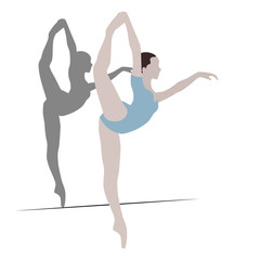 Illustration with a ballet dancer in the dance.