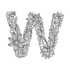 Letter W coloring book for adults vector