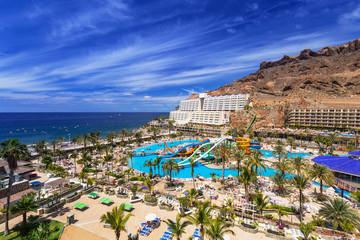 Beautiful beach and sun holidays architecture in Taurito on Gran Canaria island