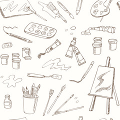 Hand drawn art tools seamless pattern. Isolated vector illustration f